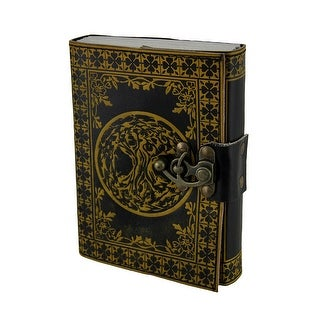 Black and Yellow 2-Tone Embossed Tree of Life Leather Bound Journal 5 X 7 Inch