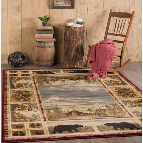 Alise Rugs Natural Lodge Novelty Lodge Area Rug