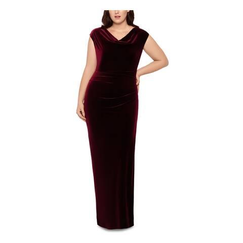 XSCAPE Burgundy Cap Sleeve Full-Length Sheath Dress Size 14W
