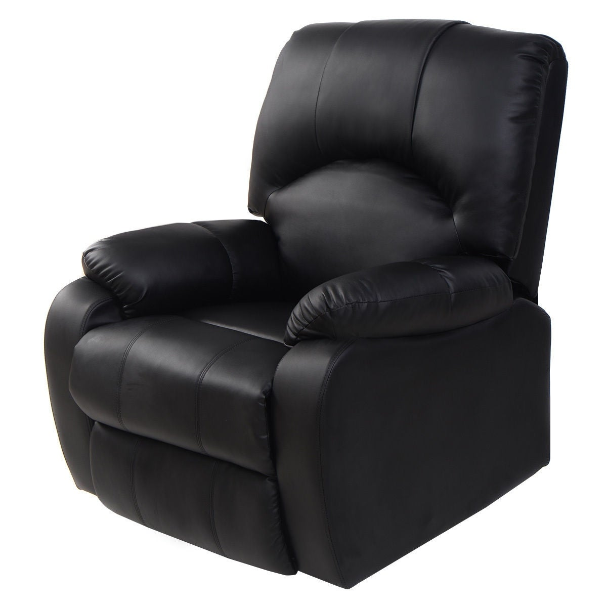 Costway Massage Recliner Sofa Chair Deluxe Ergonomic Lounge Heated w/Control Black