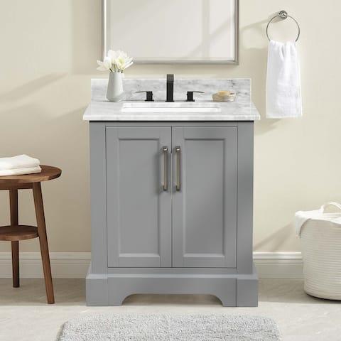 Gray Single Solid Wood Bathroom Vanity Set