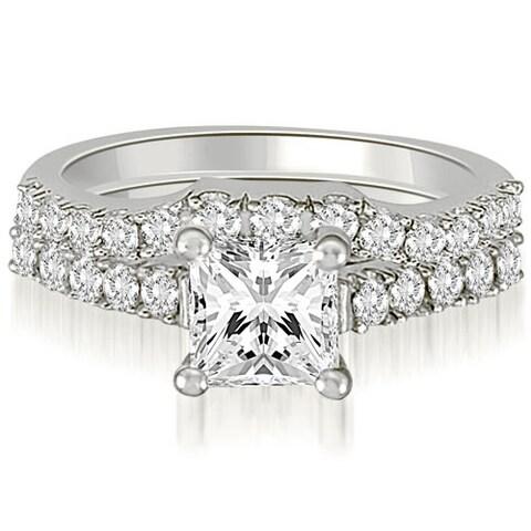 14kt White Gold 0.85 CT.TW Lucida Princess And Round Diamond Bridal Set HI,SI1-2