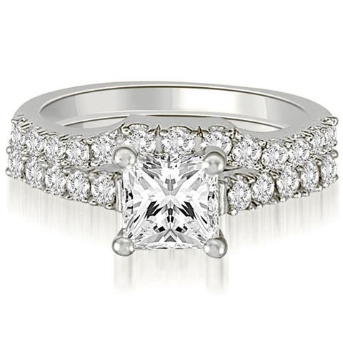 0.85 CT Lucida Princess & Round Diamond Matching Bridal Set in 14KT