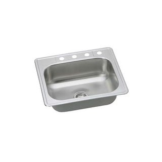 "Proflo PFSR252264 25"" Single Basin Drop In Stainless Steel Kitchen Sink with 4 Faucet Holes"