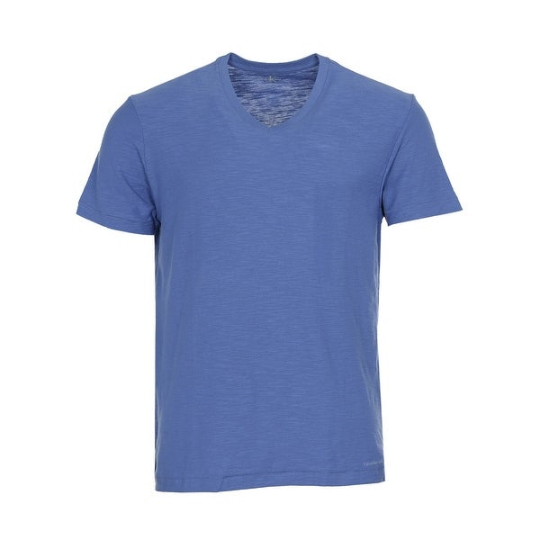 Calvin Klein Jeans Cotton Slub V-Neck T-Shirt Hydro Blue Tee Medium M