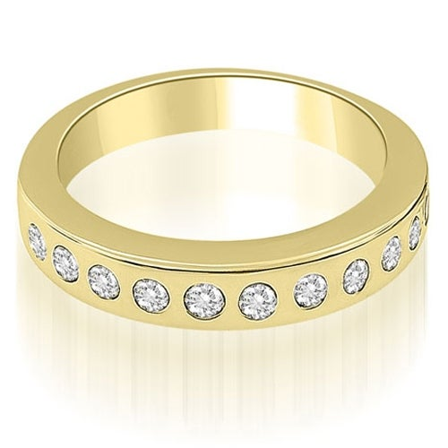 0.55 cttw. 14K Yellow Gold Stylish Bezel Set Round Cut Diamond Wedding Ring