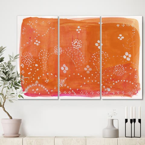 Designart 'Indian Orange Composition' Premium Mid Century Modern Canvas Wall Art - 36x28 - 3 Panels