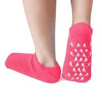 1 Pair Soften Moisturising Exfoliating Spa Treatment Non-slip Gel Socks Magenta - Multi