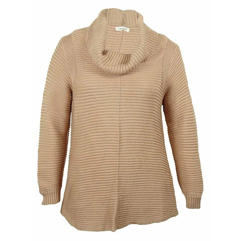 Calvin Klein Women's Cowl-Neck Ribbed Knit Sweater