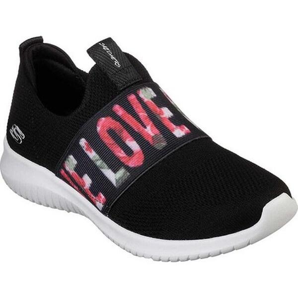 Skechers Women's Ultra Flex Love First Slip On Sneaker BlackWhitePink