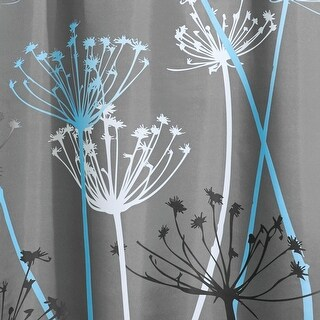 "InterDesign 37221 Thistle Polyester Shower Curtain, Gray/Blue, 72"" x 72"""