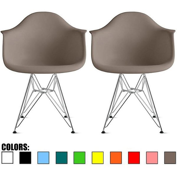 2xhome Chair Armchair With Arm Colors Wire Chrome Legs Dining (Set of 2)