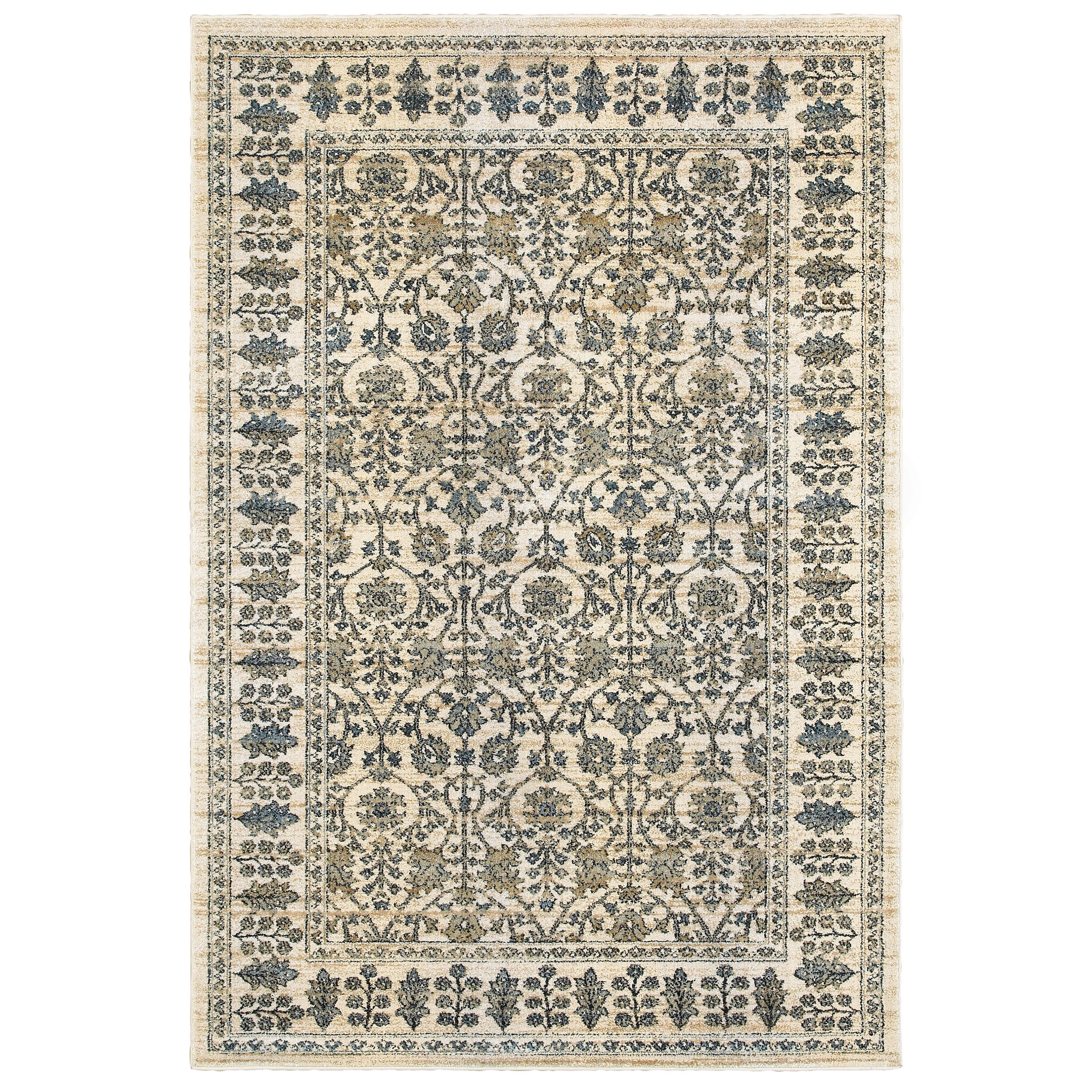 Emberly Floral Borders Area Rug Overstock 12990356