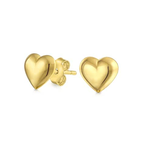 Minimalist Real 14K Yellow Gold Puff Heart Stud Earrings For Women 5MM