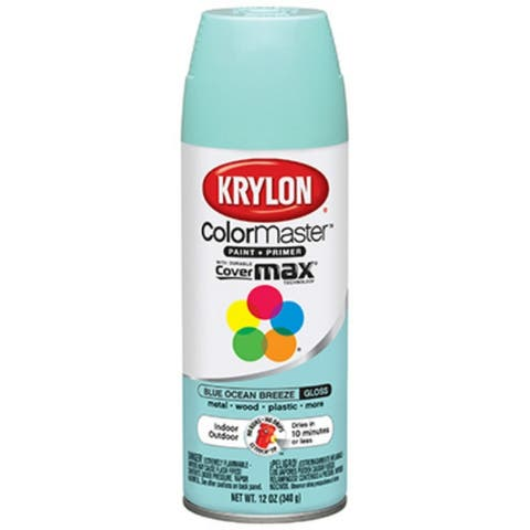 Krylon K05151202 Colormaster Spray Enamel Paint, 12 Oz, Blue Ocean