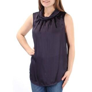 Womens Navy Sleeveless Jewel Neck Casual Top Size 8