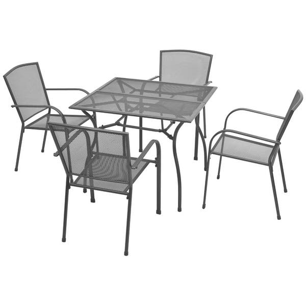 5 Piece Outdoor Bistro Set Steel Mesh