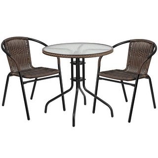Skovde 3pcs Round 28'' Glass Metal Table w/2 Rattan Stack Chairs