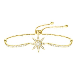 Prism Jewel 1.02Ct G-H/I1 Round Cut Natural Diamond Bolo Star Shape Bracelets,14k Yellow Gold - White