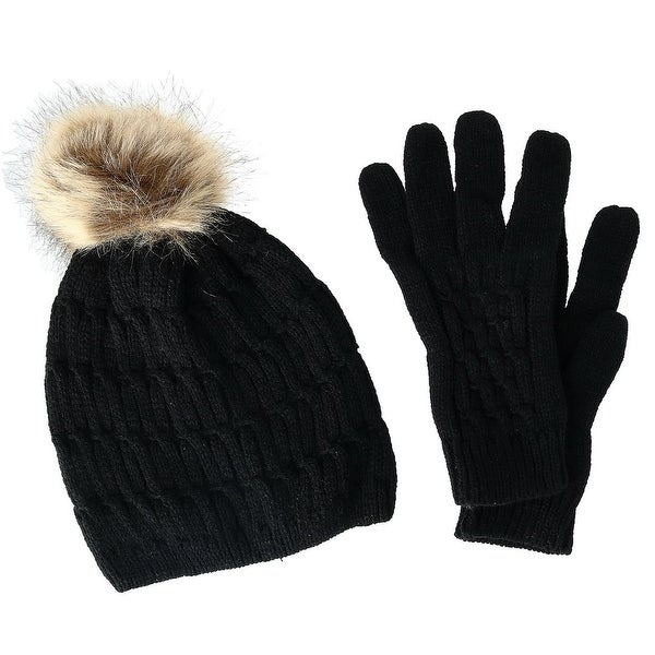 CTM® Women's Knit Beanie Hat with Pom and Matching Gloves Set - one size. Opens flyout.