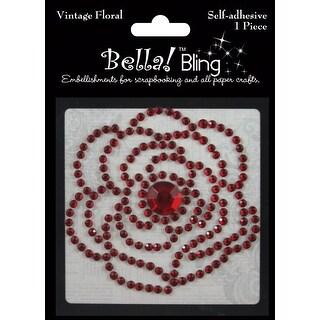 Bling Self-Adhesive Rhinestone Vintage Floral-Red - Red
