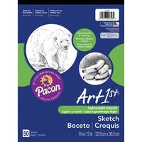 Art1st Sulphite Tape Binding Multi-Purpose Heavy Weight Sketch Pad, 60 lb, 9 X 12 in, 50 Sheets, Bright White