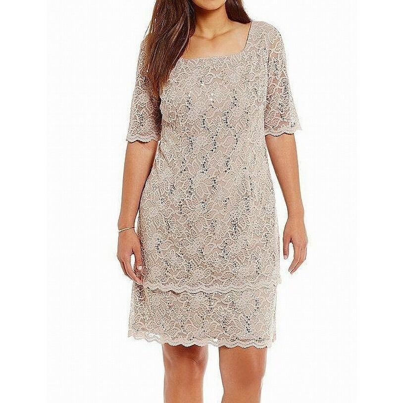 638e017e Shop Alex Evenings Beige Women's Size 8 Sequin Lace Tiered Sheath ...