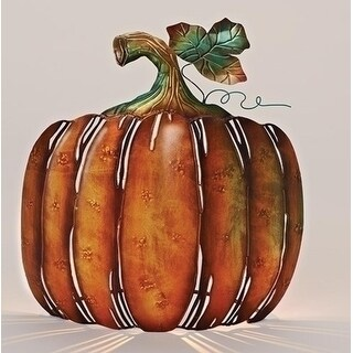 "13"" Autumn Burnt Orange and Green Metal Pumpkin Tabletop Votive Candleholder"