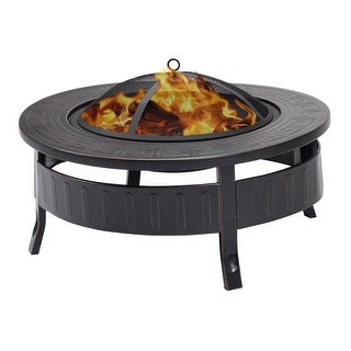 Costway 32'' Round Metal Firepit Patio Garden Stove Fire Pit Outdoor Brazier With Poker