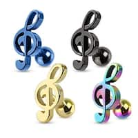 Treble Clef Music Note Tragus/Cartilage Piercing Stud Ion Plated over 316L Surgical Steel (Sold Ind.)