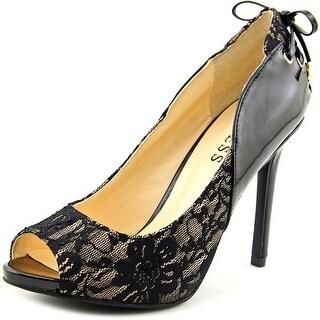 Guess Leya Women Peep-Toe Canvas Black Heels