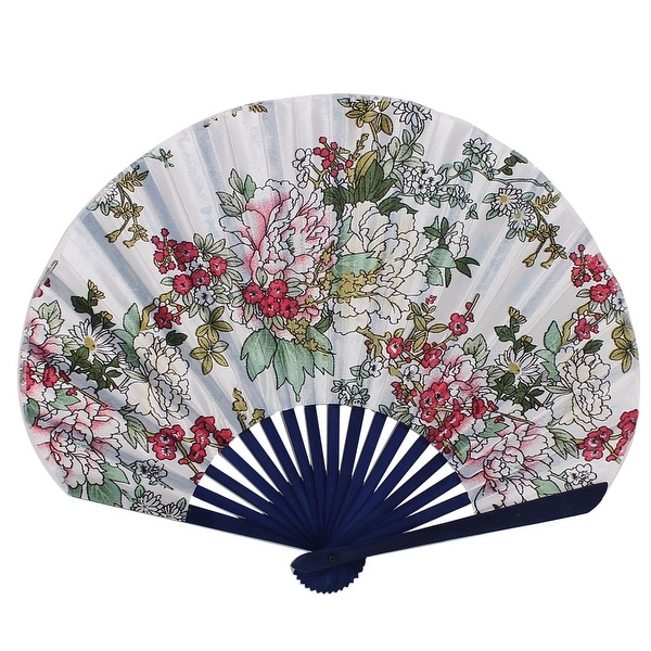 Unique Bargains Blue Bamboo Frame Floral Pattern Hand Folding Fan