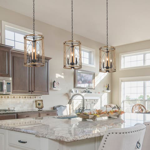 """Modern Farmhouse 3-light Large Pendant Lights Wood Grain Cage for Kitchen Island, Dining Room - D12"""" x H18"""""""