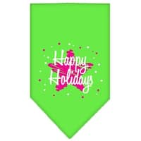 Scribble Happy Holidays Screen Print Bandana Lime Green Large