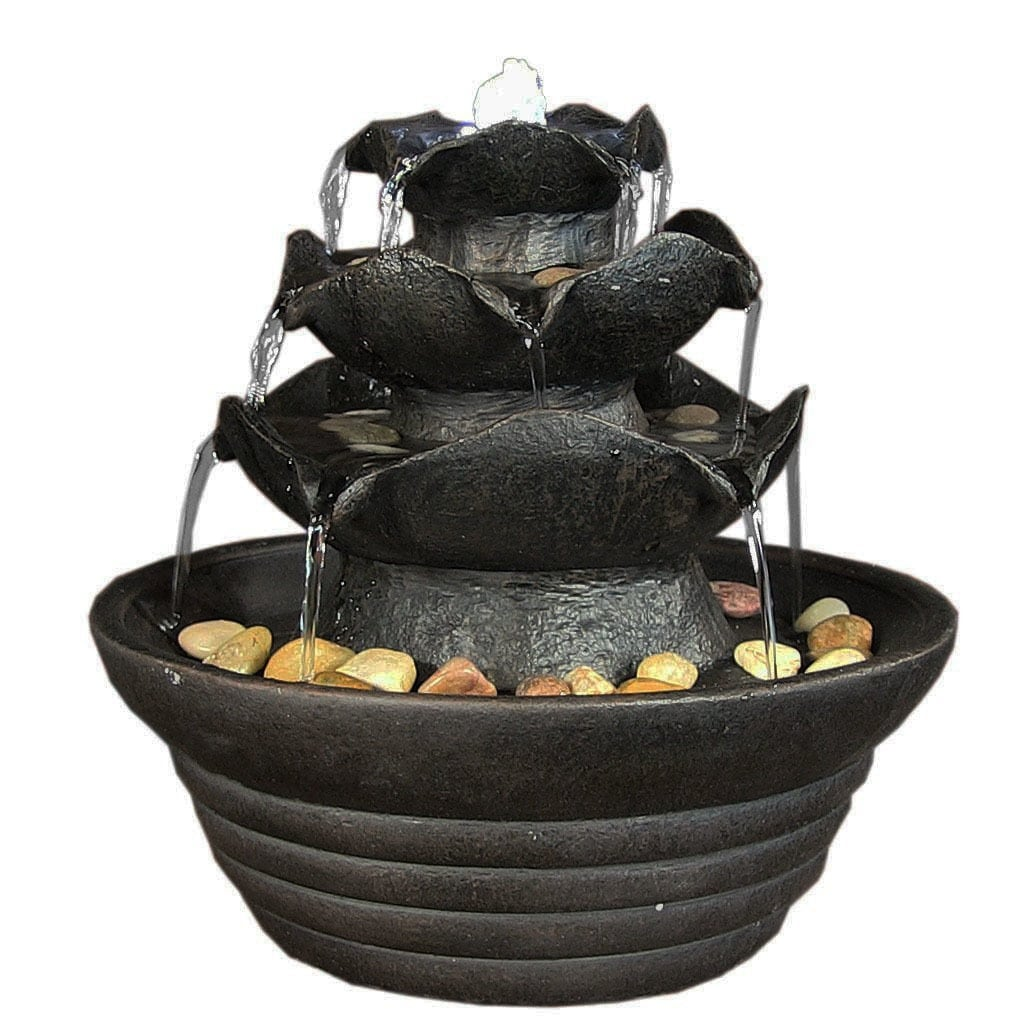 Sunnydaze Three Tier Cascading Tabletop Fountain w/ LED Lights - Options Available - Thumbnail 7