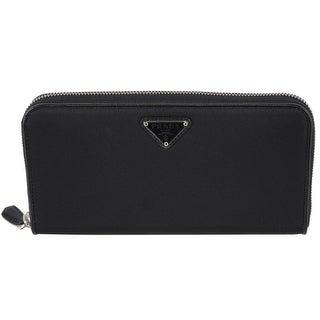 "Prada Women's 1ML506 UZO Black Nylon Zip Around Wallet Clutch - 8"" x 4.5"""