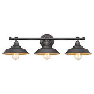 """Westinghouse 6344900 Iron Hill 30"""" Wide 3-Light Bathroom Vanity Light with Metal Shades - Oil Rubbed bronze - n/a"""