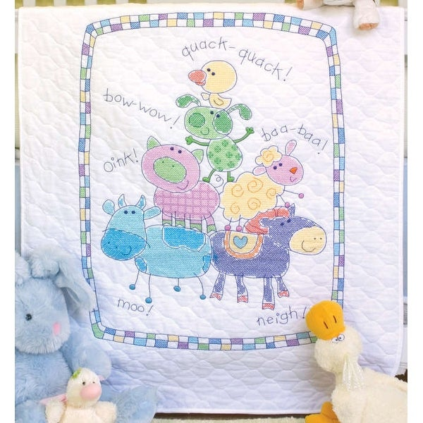 "Baby Hugs Farm Friends Quilt Stamped Cross Stitch Kit-34""X43"""