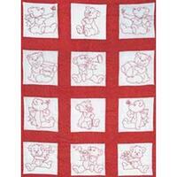 "Baby Bears - Stamped White Nursery Quilt Blocks 9""X9"" 12/Pkg"