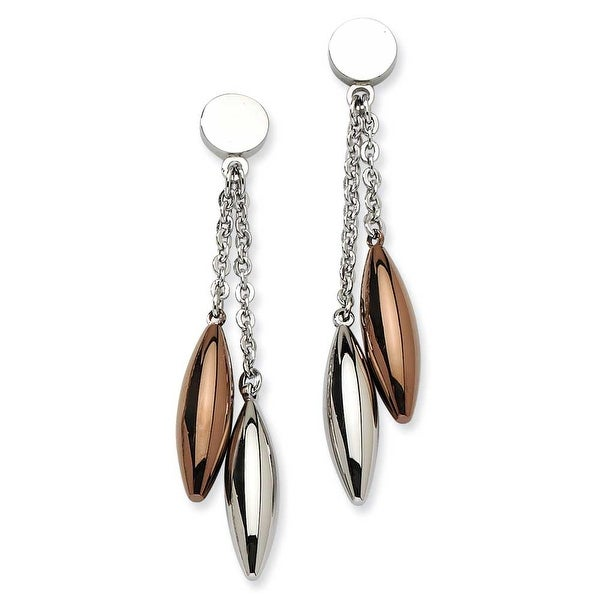Chisel Stainless Steel Rose Gold & Brown Ovals Dangle Post Earrings