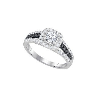 14k White Gold Womens Natural Round Diamond Bridal Wedding Engagement Ring Band Set 7/8 Cttw - Black