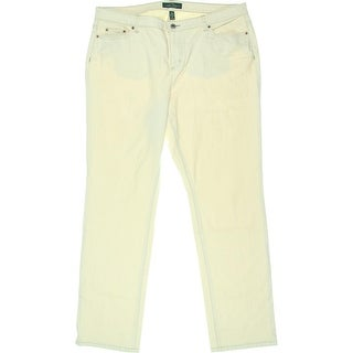 LRL Lauren Jeans Co. Womens Plus Straight Leg Jeans High Waist Light Wash