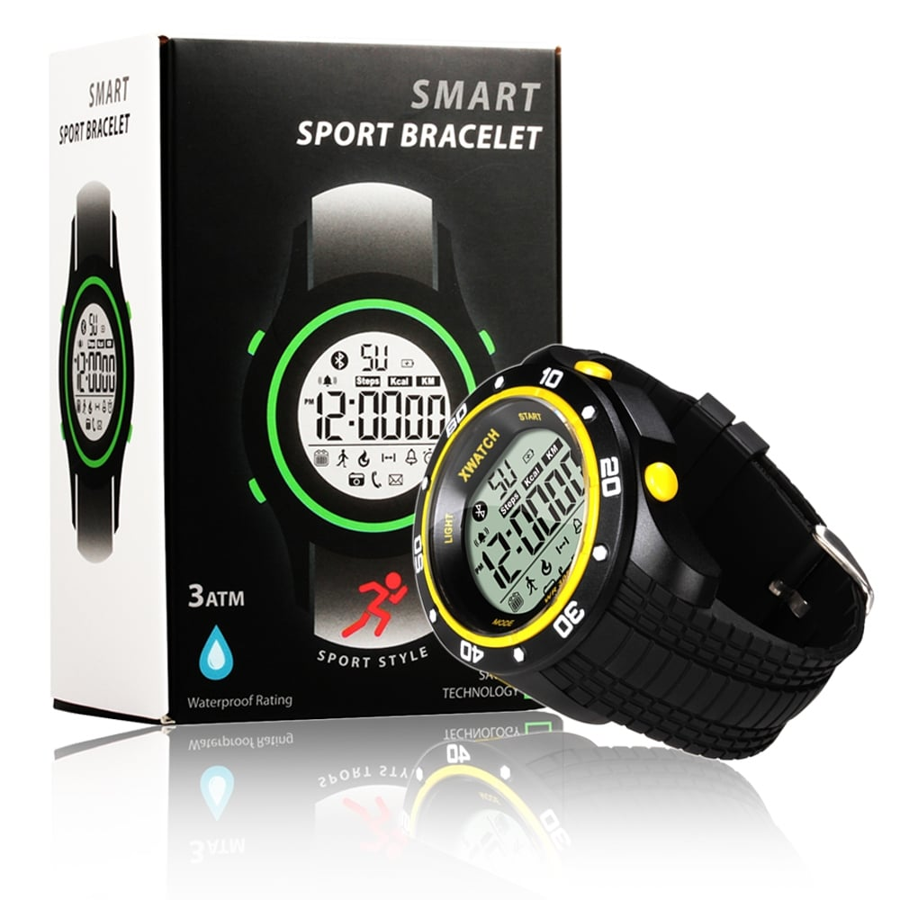 Indigi® Rugged Sports Waterproof Bluetooth 4.0 X-Watch w/ Pedometer + Calorie Counter + Smart Alarm + Remote Shutter - Thumbnail 0