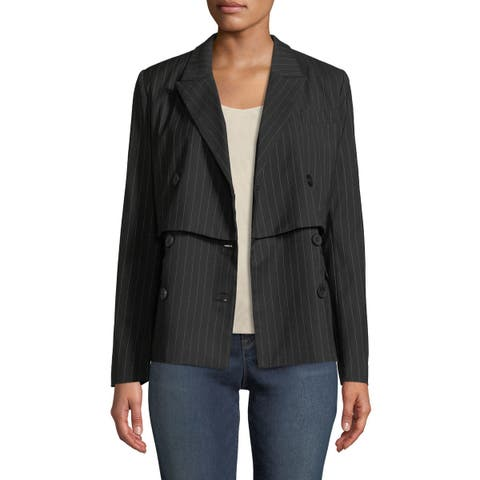 Nicole Miller Black Womens 10 Popover Striped Double-Breast Blazer