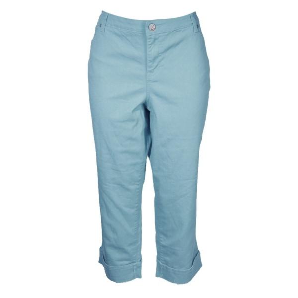 aa673d8f3d6 Style Co Plus Size Light Blue Mid Rise Curvy Fit Capri Denim Pants W - 24W