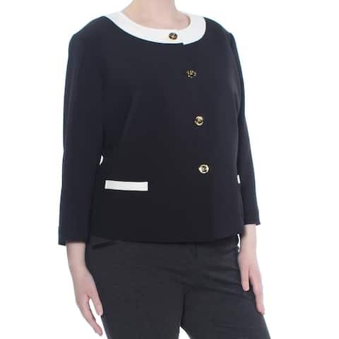 TAHARI Womens Black Contrast Panel Long Sleeve Top Plus Size: 18W