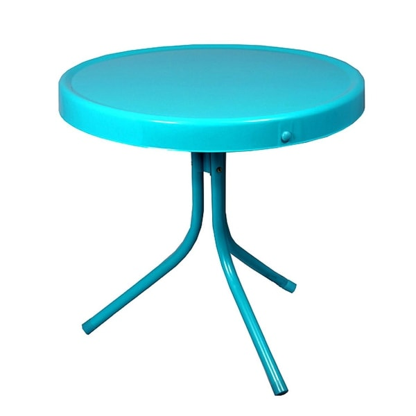 "20"" Turquoise Blue Retro Metal Tulip Outdoor Side Table"
