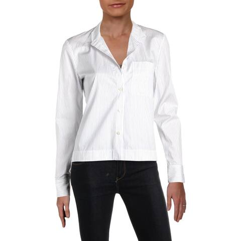 Theory Womens Button-Down Top Striped Blouse