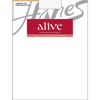 Hanes Alive Full Support Control Top Reinforced Toe Pantyhose - f