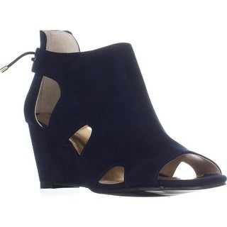 TS35 Adra Cutout Rear Lace Wedge Sandals, Navy